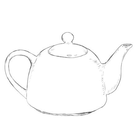 Vector Single Sketch Teapot on White Background