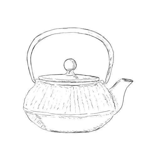single sketch: Vector Single Sketch Teapot on White Background