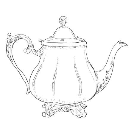 Vecteur Simple Sketch Teapot sur fond blanc