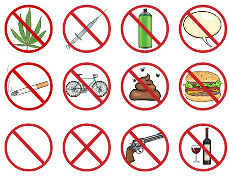alcohol series: vector icons set - 12 cartoon prohibition signs on White Background Illustration