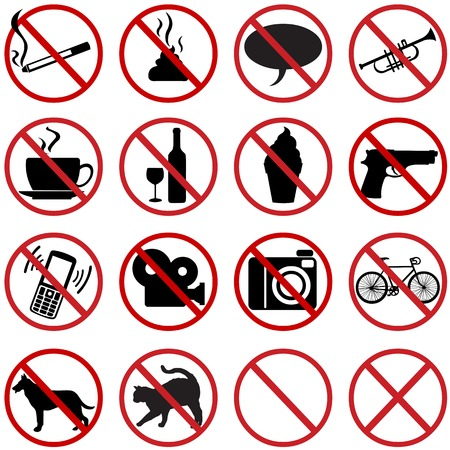 censorship: vector icons set - 16 flat prohibition signs on White Background