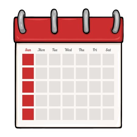 白の背景にベクトル漫画ルーズリーフ空白カレンダー