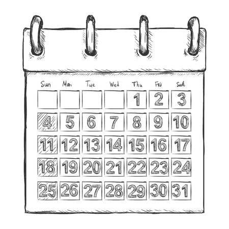 tear off: Vector Sketch Loose-leaf Calendar on White Background