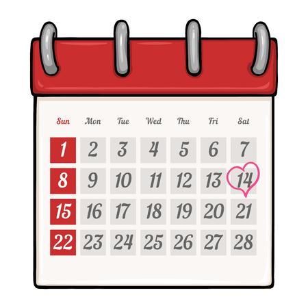 looseleaf: Vector Cartoon Loose-leaf Calendar with Heart Mark on the 14 of February