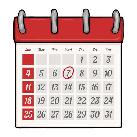 looseleaf: Vector Cartoon Loose-leaf Calendar with Red Circle Mark