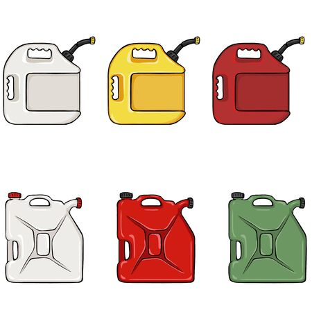 jerry: Vector Set of Color Cartoon Jerry Cans on White Background