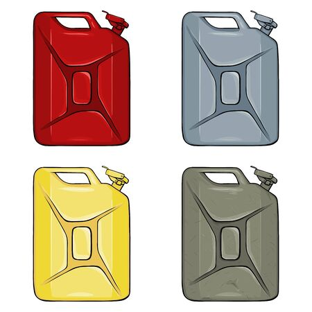 Vector Set of Color Cartoon Jerry Cans Illustration