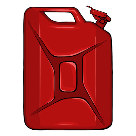 Vector Cartoon Single Jerry Can on White Background Illustration