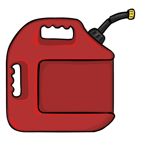 jerry: Vector Cartoon Single Jerry Can on White Background Illustration