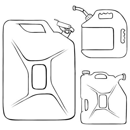 jerry: Vector Set of Lineart Jerry Cans on White Background