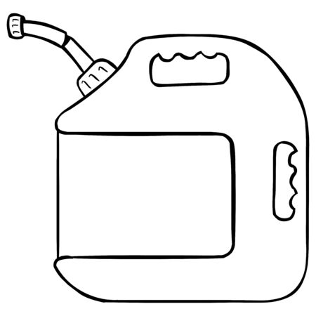 jerry: Vector Lineart Single Jerry Can on White Background Illustration