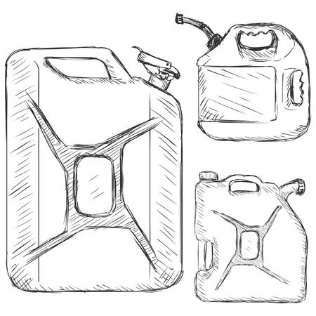 jerry: Vector Set of Sketch Jerry Cans on White Background Illustration