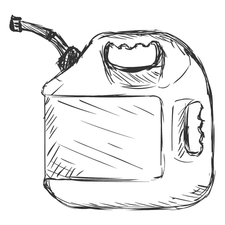 jerry: Vector Sketch Single Jerry Can on White Background