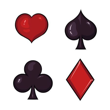blackjack: Vector Set of Cartoon  Playing Cards Suits Signs Illustration