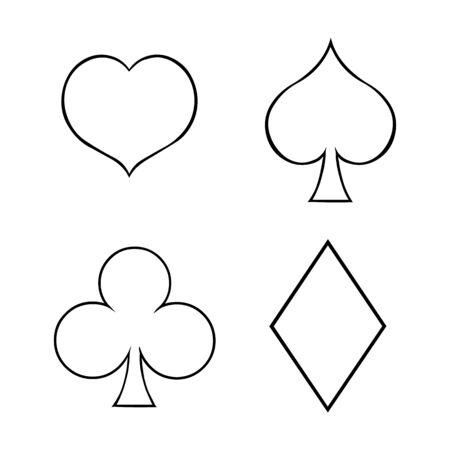 blackjack: Vector Line Art Set of Playing Cards Suits Illustration