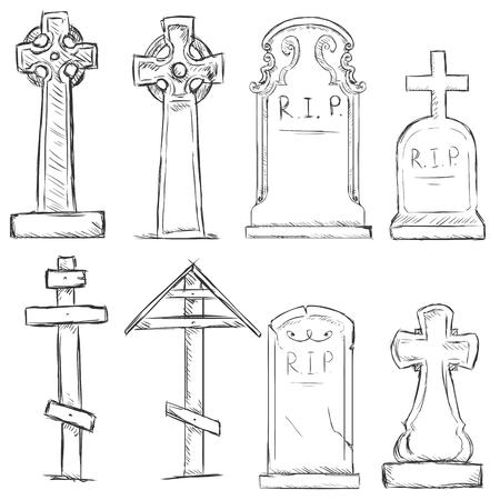 rip: Vector Set of Sketch Cemetery Tombstones