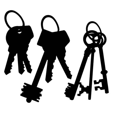 bunches: Vector Set of Silhouette Keys Bunches on White Background