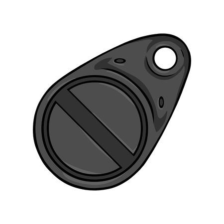 magnetic: Vector Cartoon Black Magnetic Key on White Background Illustration