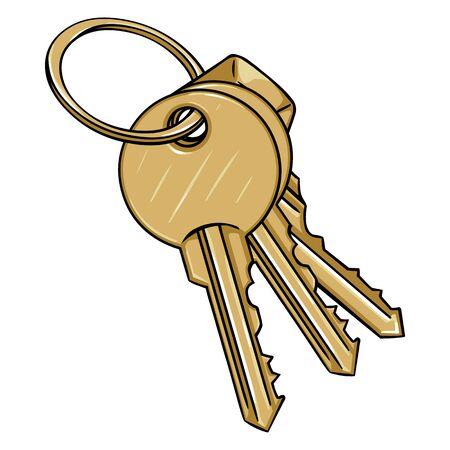 Vector Cartoon Bunch of Modern Keys on White Background