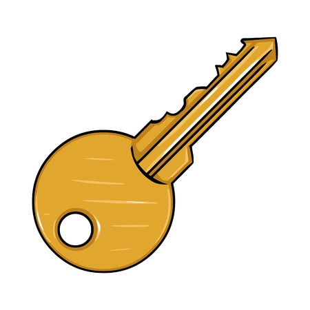 Vector Single Cartoon Modern Key on White Background Иллюстрация