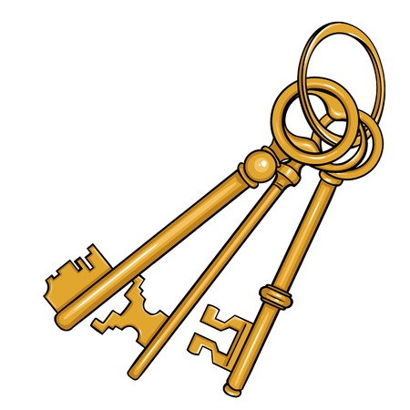 Vector Cartoon Bunch of Antique Keys on White Background