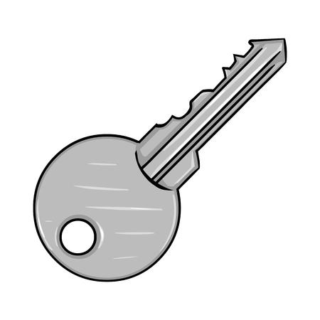 Vector Single Cartoon Modern Key on White Background Illustration