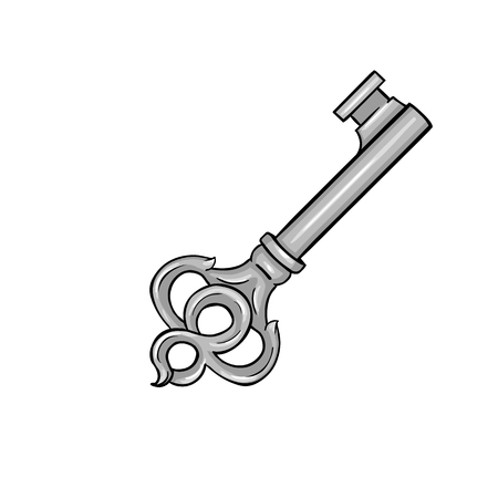 Vector Single Cartoon Antique Key on White Background
