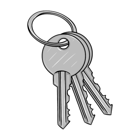 homeowner: Vector Cartoon Bunch of Modern Keys on White Background