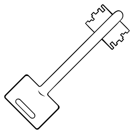 lineart: Vector Single Lineart Modern Key on White Background