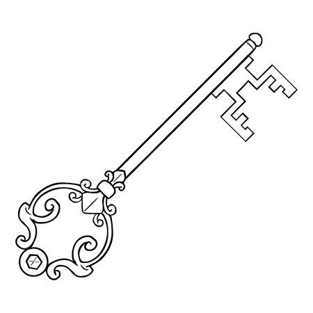 lineart: Vector Single Lineart Antique Key on White Background Illustration
