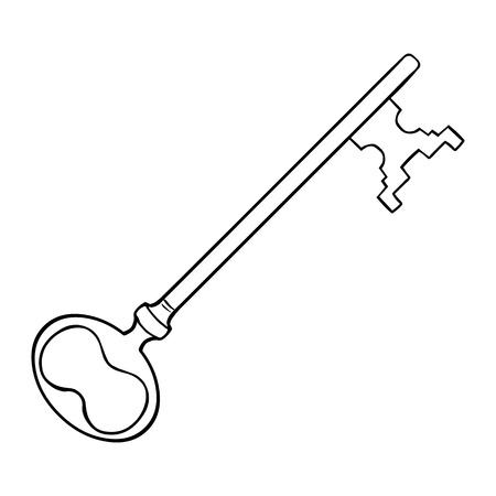 lineart: Vector Single Lineart Antique Key on White Background Illustration