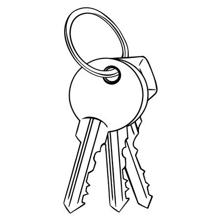 lineart: Vector Lineart Bunch of Modern Keys on White Background Illustration