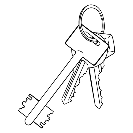 lineart: Vector Lineart Bunch of Modern Keys on White Background Illustration