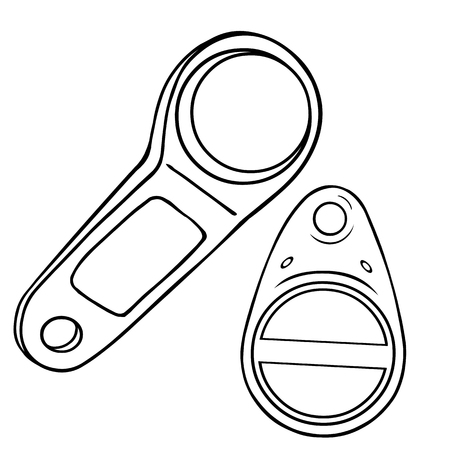 lineart: Two Vector Lineart Magnetic Keys on White Background