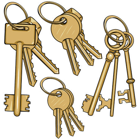 Vector Set Cartoon Bunches of Keys on White Background