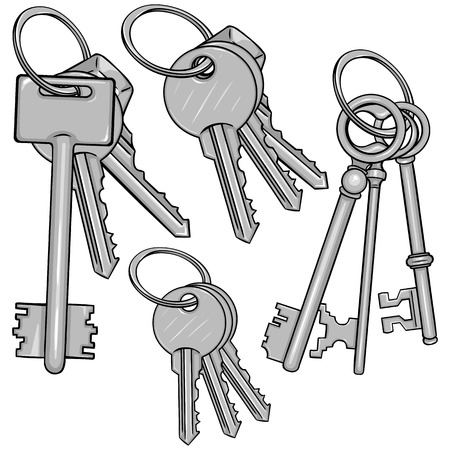 bunches: Vector Set Cartoon Bunches of Keys on White Background