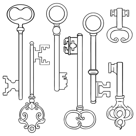 lineart: Vector Set of Lineart Antique Keys on White Background