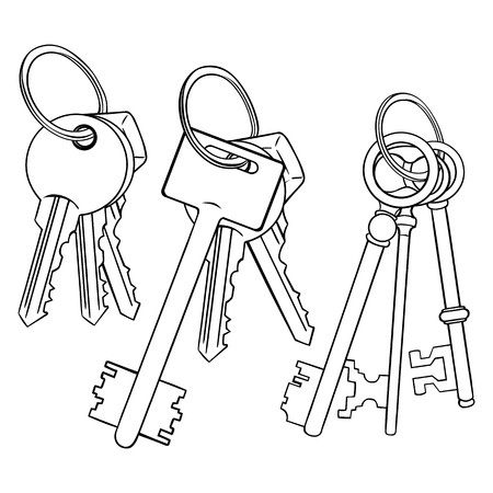 lineart: Vector Set of Lineart Bunches of Keys