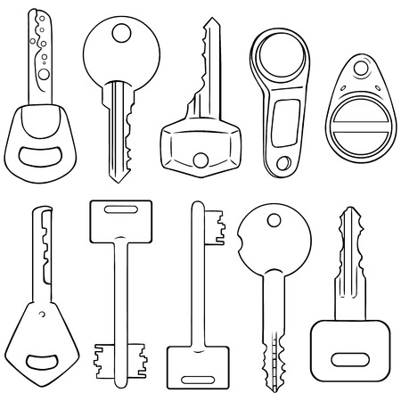 lineart: Vector Set of Lineart Modern Keys on White Background Illustration