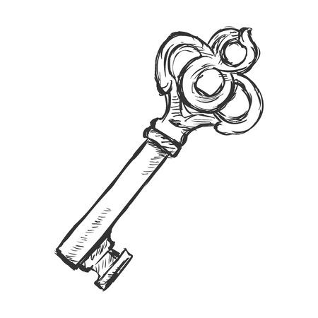 sacral symbol: Vector Single Sketch Antique Key on White Background Illustration