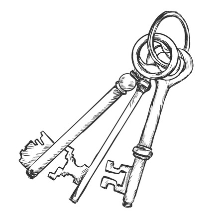 Vector Sketch Bunch of Three Antique Keys on White Background Illustration