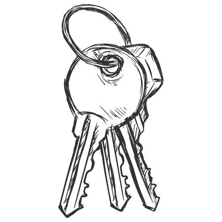 Vector Sketch Bunch of Three Keys on White Background Illustration