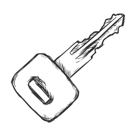 tenure: Vector Single Sketch Modern Key on White Background Illustration