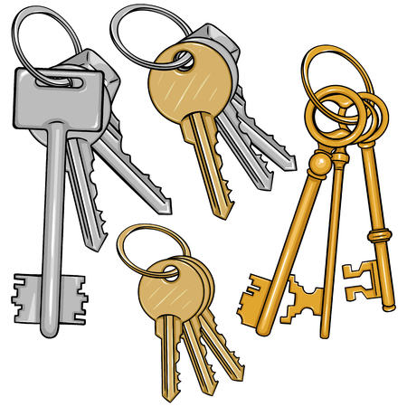 homeowner: Vector Set Cartoon Bunches of Keys on White Background