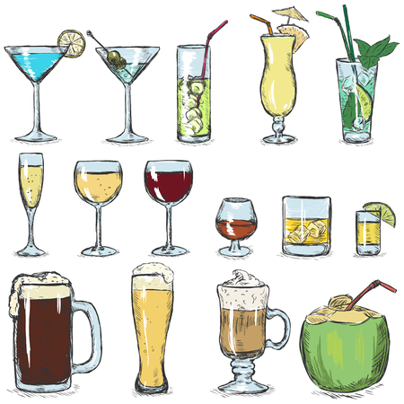 Vector Set of Color Sketch Cocktails on White Background Illustration