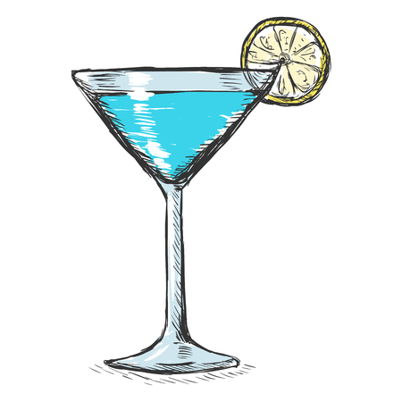 Vector Single Color Sketch Cocktail with Lime