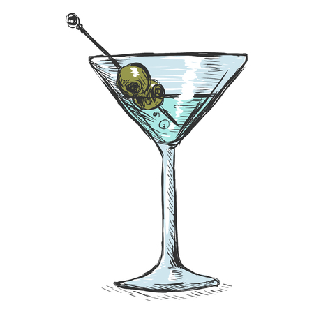 Vector Color Sketch Martini Glass with Olives Illustration