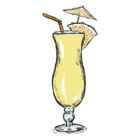 colada: Vector Color Sketch Pinot Colada with Pineapple, Umbrella and Straw.