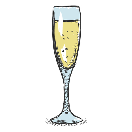 single color: Vector Single Color Sketch Glass of Champagne