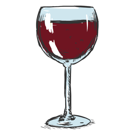 Vector Color Sketch Glass of Red Wine